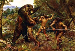 Fotos Malerei Bären Mann Krieger Schlägerei Hunting the cave bear