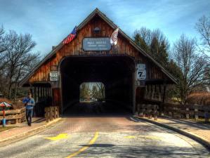 Bilder Vereinigte Staaten Wege Michigan Frankenmuth MI HDR wooden bridge