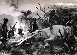 Fotos Malerei Zdenek Burian Mammute Hunted mastodon