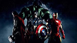 Bilder Marvel's The Avengers 2012 Captain America Held Thor Held Iron Man Held Hulk Held Film