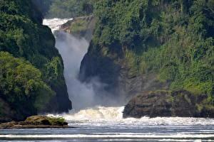 Hintergrundbilder Wasserfall Afrika Murchison Falls National Park Uganda Natur