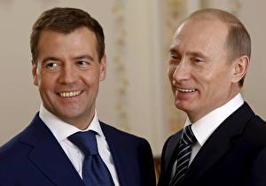 Fotos Dmitry Medvedev Vladimir Putin Präsident Lachen