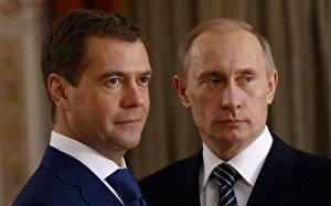 Fotos Dmitry Medvedev Vladimir Putin Präsident Prominente