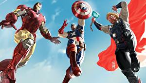Hintergrundbilder Marvel's The Avengers 2011 Captain America Held Thor Held Iron Man Held