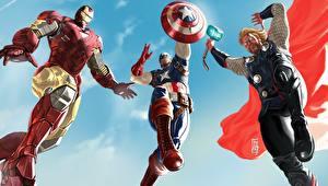 Hintergrundbilder Marvel's The Avengers 2012 Captain America Held Thor Held Iron Man Held Film