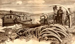 Fotos Malerei Zdenek Burian Mammute tusks