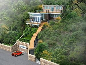 Haus Design 3D-Grafik Natur