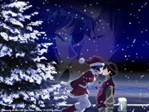 Hintergrundbilder Ai Yori Aoshi Neujahr Junger Mann Mädchens