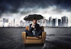 Hintergrundbilder Mann Regenschirm Anzug Krawatte