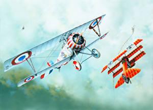 Hintergrundbilder Flugzeuge Gezeichnet Antik Nieuport Ni-17
