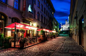 Fotos Finnland Helsinki HDR Nacht Straßenlaterne