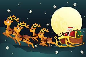 Fotos & Bilder Feiertage Neujahr Hirsche Vektorgrafik Weihnachtsmann Schneeflocken Schlitten fotos