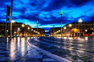 Bakgrunnsbilder Frankrike Veier HDR Natt Gatebelysning  Byer