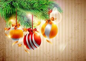 Hintergrundbilder Feiertage Neujahr Vektorgrafik Kugeln Ast Tannenbaum