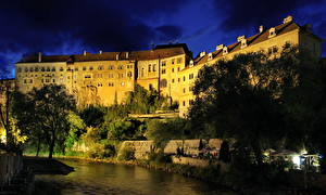 Images Castles Czech Republic Clouds Night time Krumlov Cities