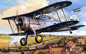 Hintergrundbilder Flugzeuge Gezeichnet Antik Gloster Gladiator Mk. I
