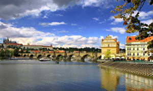 Photo Czech Republic Sky Bridge Prague Clouds Cities