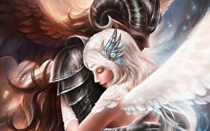 Fonds d'écran Amour Ange Aile Corne Fantasy Filles