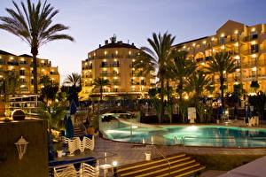 Images Resorts Spain Pools Night time Palms Canary Islands  Cities