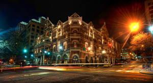 Hintergrundbilder Vereinigte Staaten Texas Austin TX HDR Nacht Straßenlaterne Lichtstrahl
