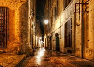 Bakgrunnsbilder Frankrike Lysstråler Gatelykter Natt Montpellier Byer