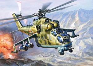 Photo Painting Art Helicopters  military