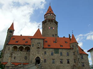 Image Castle Czech Republic Sky Clouds Bouzov Cities