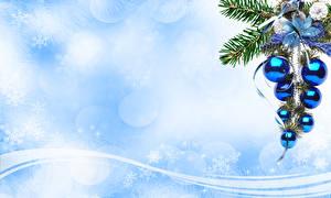 Fotos Feiertage Neujahr Vektorgrafik Kugeln Ast Tannenbaum Schneeflocken