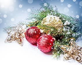 Bilder Feiertage Neujahr Kugeln Ast Weihnachtsbaum