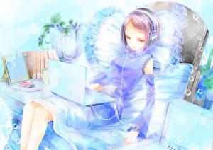 Fondos de Pantalla Auriculares Computadora portátil Anime Chicas
