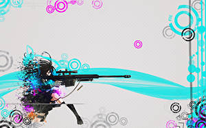 Pictures Vector Graphics Sniper rifle Snipers Anime Girls Girls