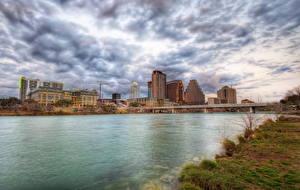 Fotos USA Himmel Flusse Brücken Austin TX Texas Wolke HDR