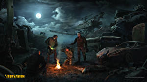 Images Survarium Warrior Night time Moon Clouds vdeo game