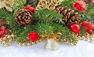 Bilder Feiertage Neujahr Ast Tannenbaum Glocke Zapfen