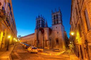 Bakgrunnsbilder Frankrike Veier Gatelykter HDR Natt Montpellier byen
