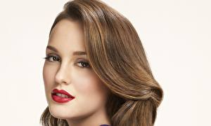 Pictures Leighton Meester Face Staring Brunette girl Hair Red lips Brown haired Hairstyle Celebrities