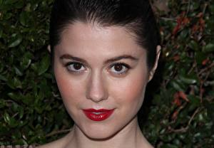 Desktop wallpapers Mary Elizabeth Winstead Eyes Staring Face Brunette girl Red lips Celebrities