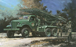Photo Missile system Painting Art Soldiers BM-13 Katyusha Army
