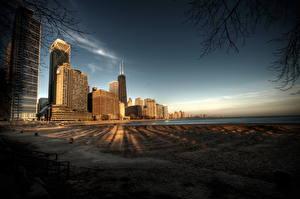 Fotos Vereinigte Staaten Himmel Haus Küste HDRI Ast Chicago Stadt Städte