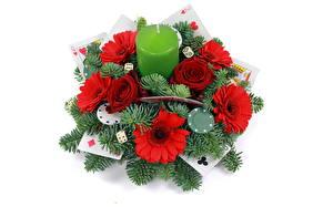 Bilder Sträuße Kerzen Rosen Gerbera Spielkarte Ast Blumen