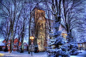 Bilder Deutschland Jahreszeiten Winter Straßenlaterne Bäume Ast Fichten HDRI Havixbeck Städte