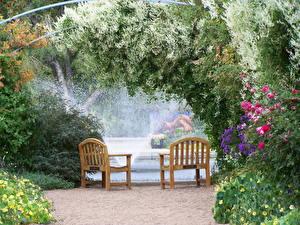 Fotos Garten Springbrunnen USA Bank (Möbel)  Natur