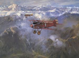 Fotos Flugzeuge Gezeichnet Berg Retro Wolke Flug