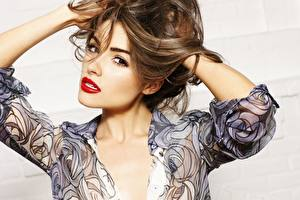 Pictures Olivia Culpo Staring Face Hair Brunette girl Red lips Brown haired young woman