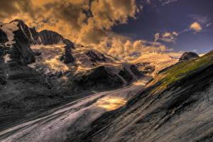 Fotos Gebirge Himmel Österreich Wolke Schnee HDRI Alpen Natur