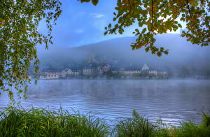 Bilder Flusse Deutschland Blatt Ast Gras Nebel HDRI  Natur