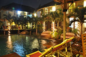 Wallpapers Resorts Indonesia Pools Palm trees Sunlounger Night time Design Bali Cities