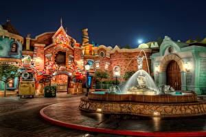 Bilder USA Park Springbrunnen Disneyland Straße Straßenlaterne Nacht HDR Kalifornien