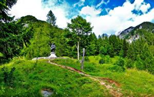 Bilder Slowenien Denkmal Grün Gras HDRI Bovec Natur
