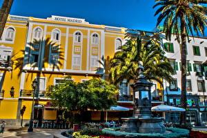 Fotos Spanien Gebäude Denkmal Palmengewächse Stadtstraße HDRI Kanarische Inseln